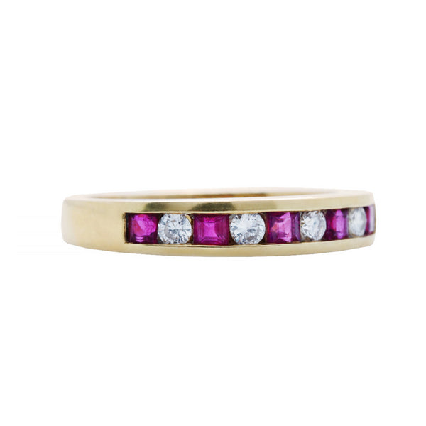 A Vibrant Modern 18k Yellow Gold, Ruby and Diamond Band | Sarasin