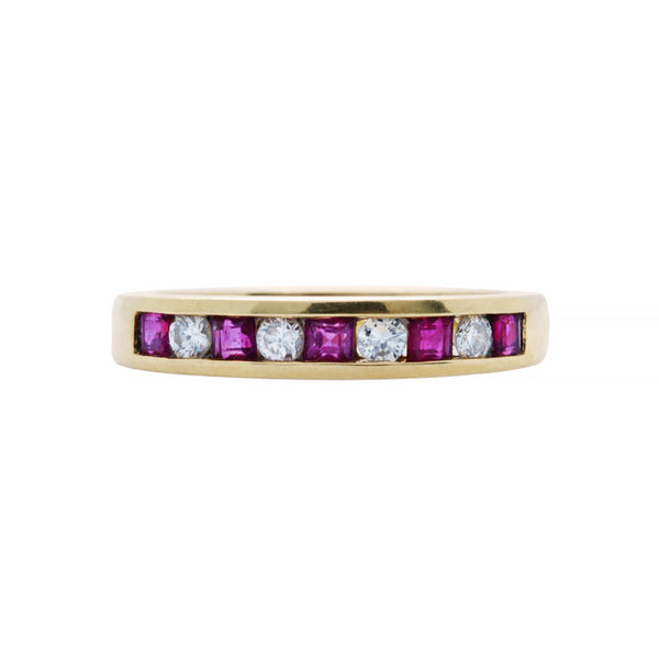 A Vibrant Modern 18k Yellow Gold, Ruby and Diamond Band