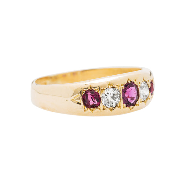 A Authentic Victorian Yellow Gold, Ruby and Diamond Gypsy Ring