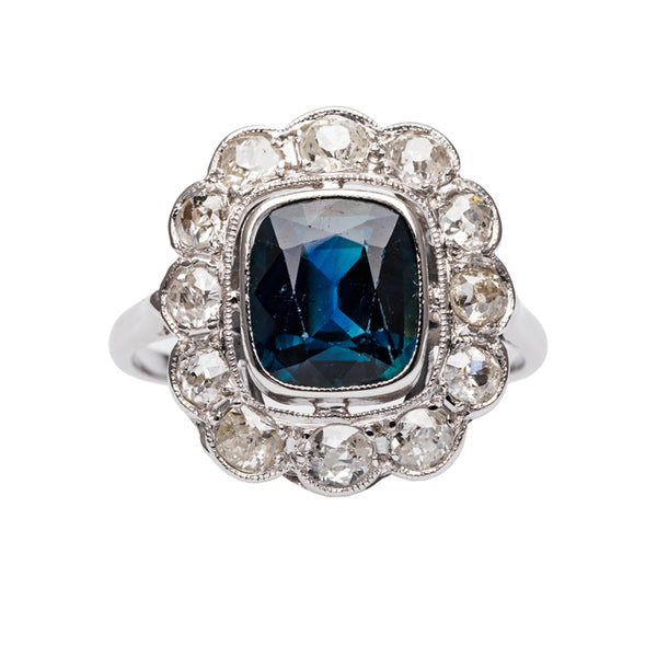 Vintage Sapphire Ring with Diamond Halo