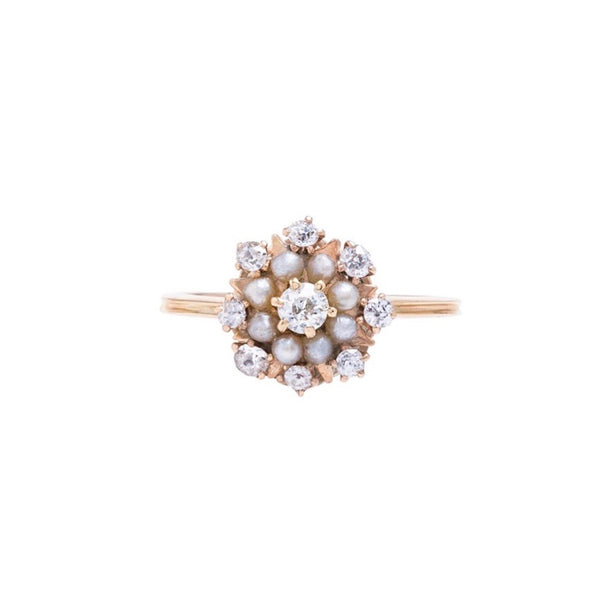An Adorable and Authentic Victorian Era Pearl and Diamond Cluster Ring