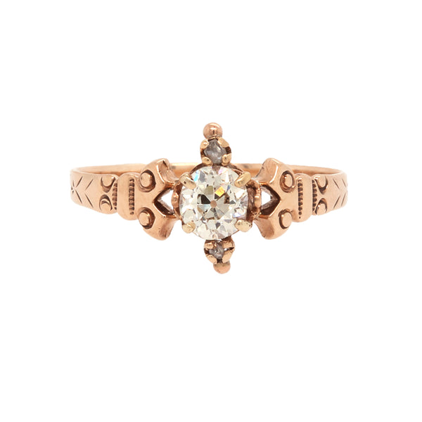 A Unique and Authentic Victorian Era 14 Karat Rose Gold and Diamond Ring