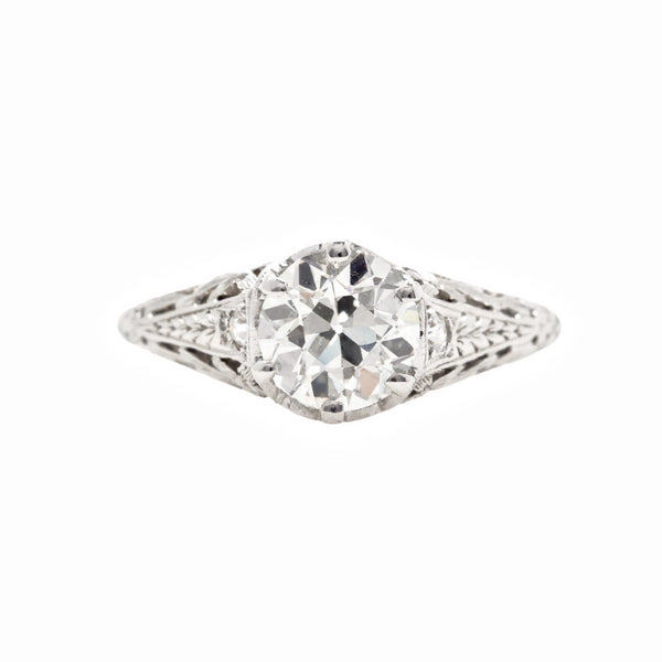 South Sussex | Authentic Edwardian era platinum and diamond ring featuring a 1.17ct Old European Cut diamond