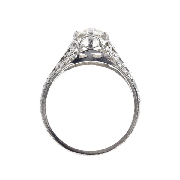South Sussex an authentic Edwardian era platinum and diamond ring featuring a 1.17ct Old European Cut diamond