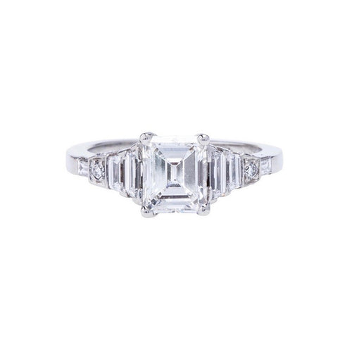 A Spectacular Modern Platinum and Emerald Cut Diamond Engagement Ring