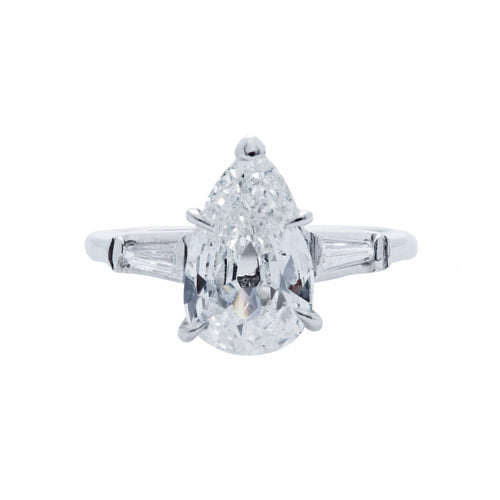 A Tailored Platinum and Pear Shaped Diamond Mid-Century Engagement Ring | St. Germain