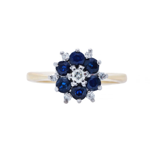 An Adorable Mid-Century Sapphire and Diamond Flower Ring