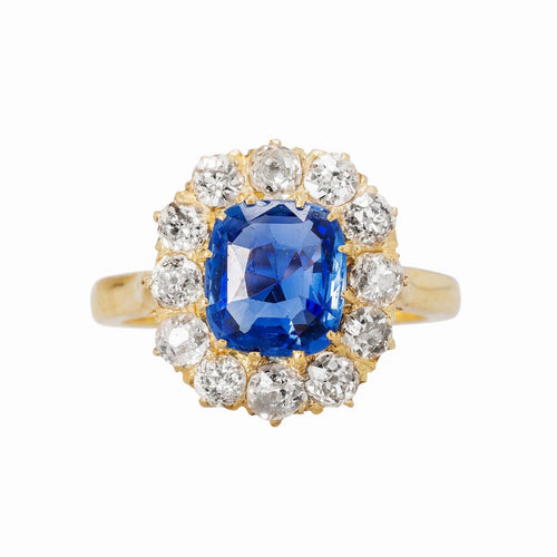 Authentic Victorian Era 18k yellow gold Ceylon Sapphire with diamond halo engagement ring