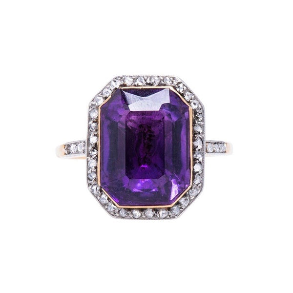 A Sweet Authentic Art Nouveau Platinum and Gold Amethyst and Diamond Ring