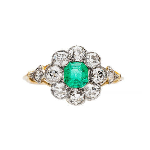 Low Profile Victorian Emerald Engagement Ring