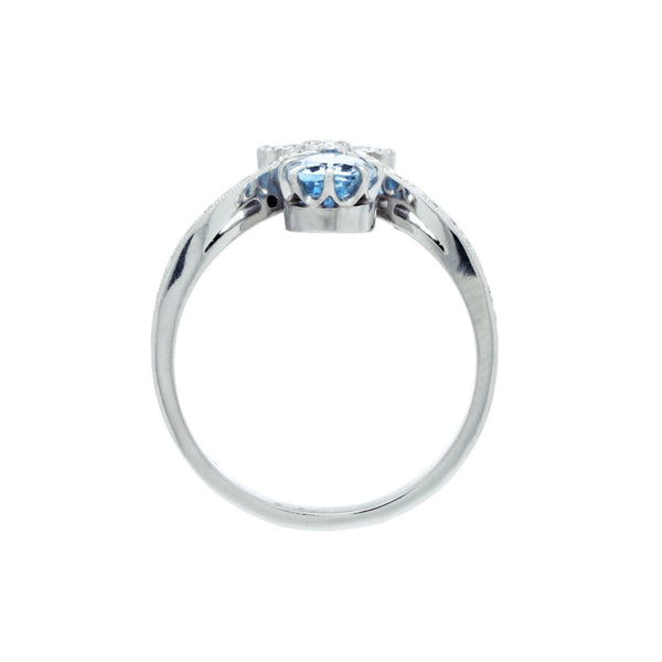 A Handcrafted Platinum, Aquamarine and Diamond Engagement Ring