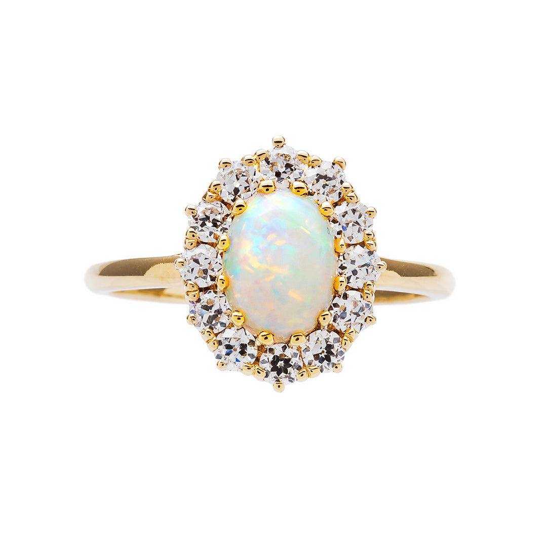 Perfect Vintage Inspired Opal And Diamond Halo Ring