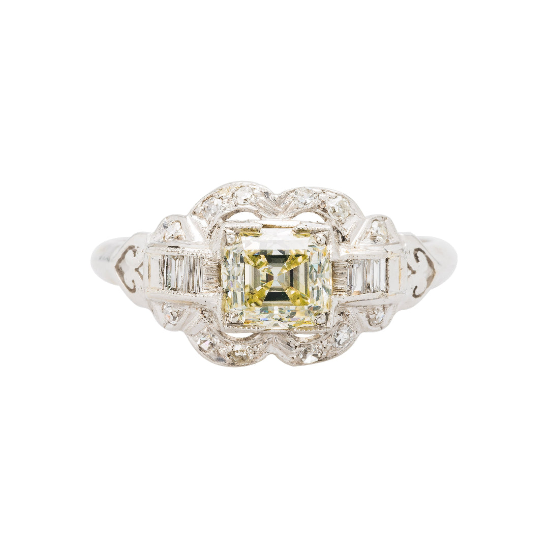 Antique Asscher Cut Diamond Art Deco Engagement Ring | Rolling Ridge