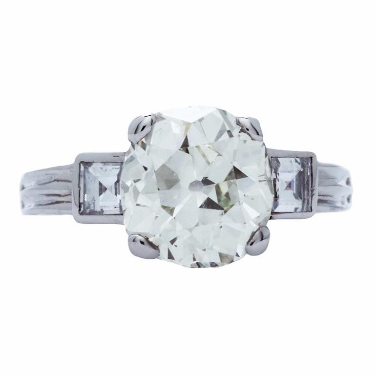A Spectacular Art Deco Platinum and Diamond Engagement Ring with Carre Accent Diamonds | Teton Vista