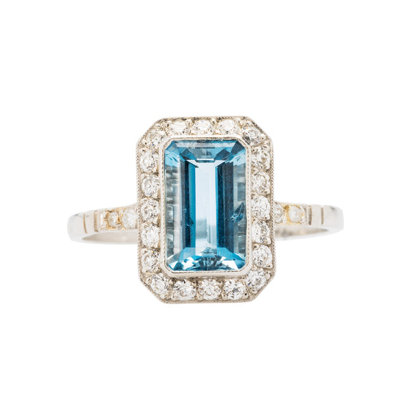 Authentic Art Deco era Aquamarine platinum halo ring.