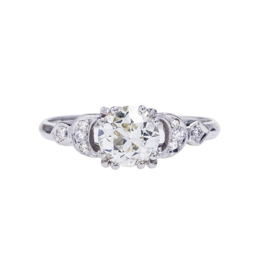 An Outstanding and Authentic Art Deco Platinum and Diamond Engagement Ring