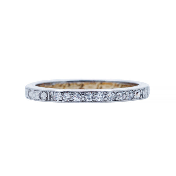 A Sweet and Authentic Art Deco Platinum and Diamond Wedding Band | Vintro