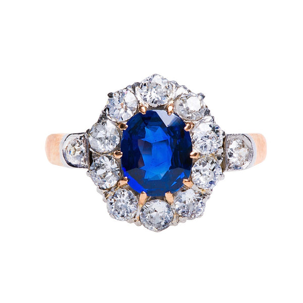 Authentic Victorian era Ceylon Blue Sapphire and Diamond 18k Rose Gold engagement ring