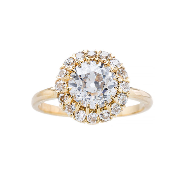 Victorian Inspired Halo Engagement Ring from Downtown Los Angeles