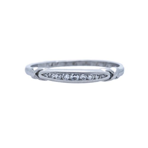 A Perfect Art Deco Platinum and Diamond Wedding Band | Welton