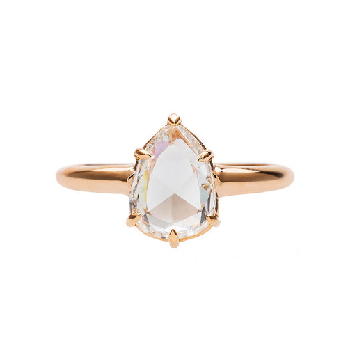 Pear Shaped Rose Cut Solitaire Ring
