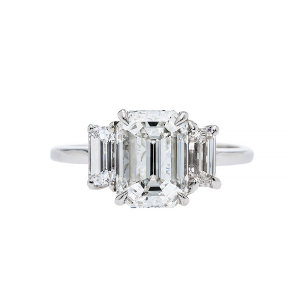 Amazing Platinum and Diamond Three Stone Art Deco Engagement Ring
