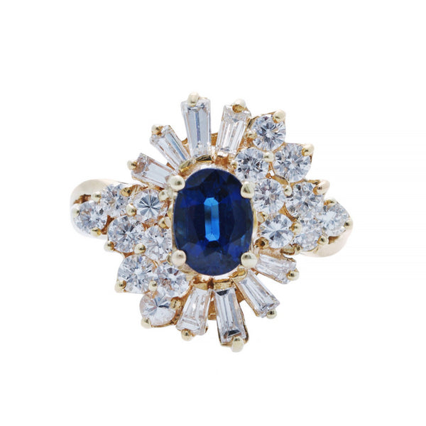 A Dramatic 14k Yellow Gold, Sapphire and Diamond Ballerina ring from the 1980's