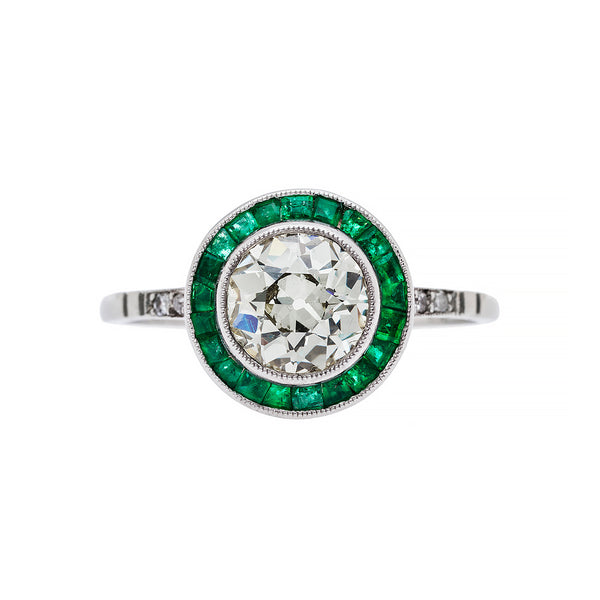 Art Deco Inspired Emerald & Diamond Ring | Woodbridge