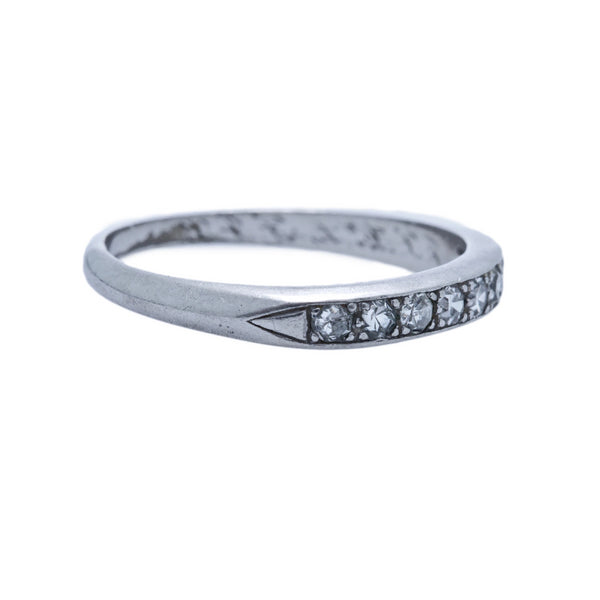 A Sweet Art Deco Platinum and Diamond Wedding Band | Woodson