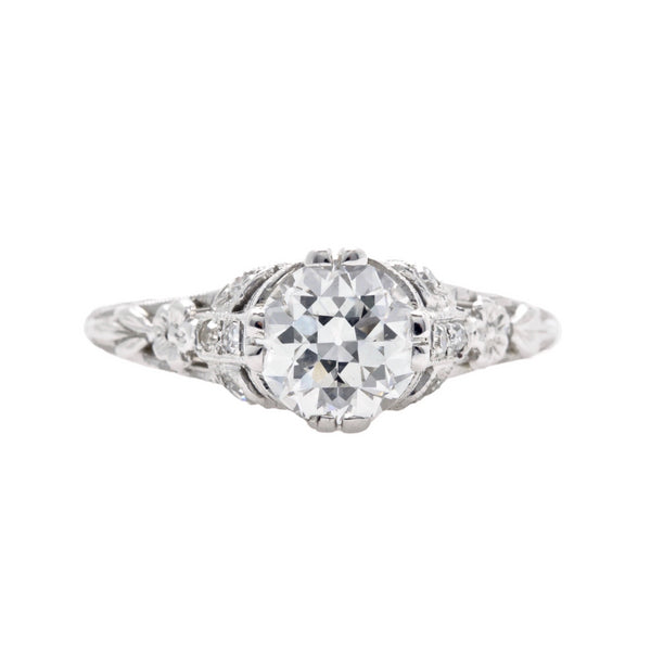 Yorkshire Coast | Sensational Edwardian era platinum and diamond antique engagement ring featuring a 1.19ct Transitional Brilliant Cut diamond