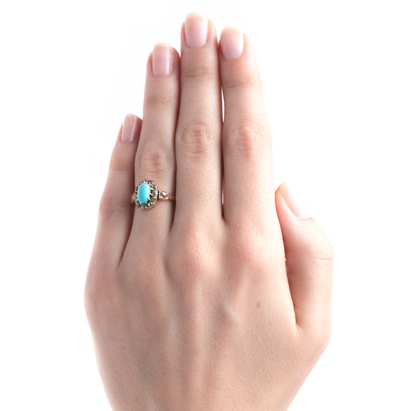 Striking Victorian Era Turquoise Engagement Ring with Old Mine Cut Diamond Halo | Abbot Kinney from Trumpet & Horn