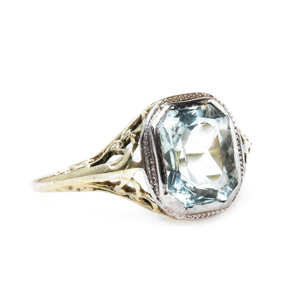 Gorgeous Retro Era Aquamarine Engagement Ring | Adelaide from Trumpet & Horn