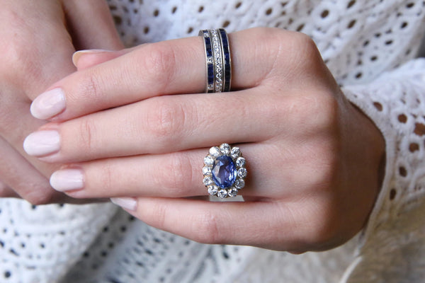 An Unbelievable Victorian Era Yellow Gold, Sapphire and Diamond Cluster Ring | Ainsworth
