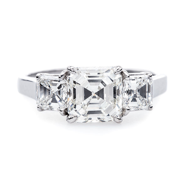 Sleek and Modern Platinum Three Stone Ring | Alden Drive from Trumpet & Horn