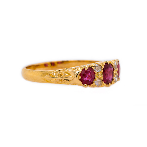 Classic Ruby and Diamond Victorian Wedding Band | Aldwych at Trumpet & Horn