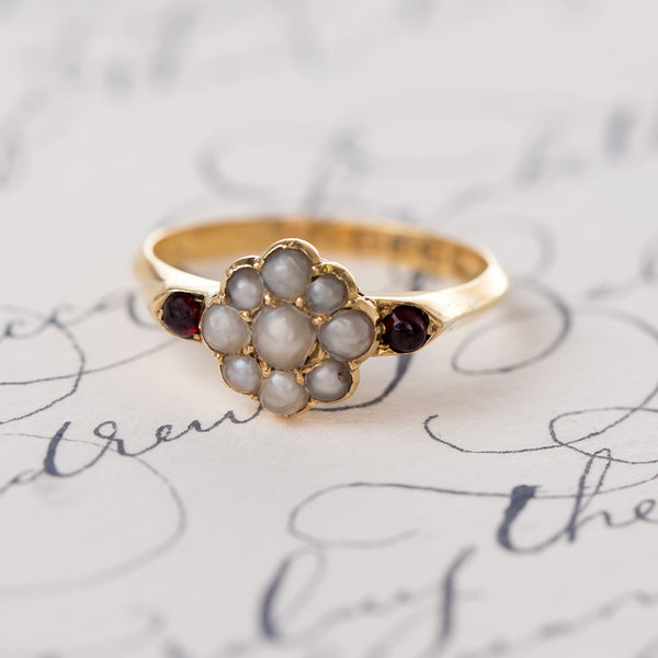 Victorian Seed Pearl Ring with English Hallmarks | Alpine Valley from Trumpet & Horn