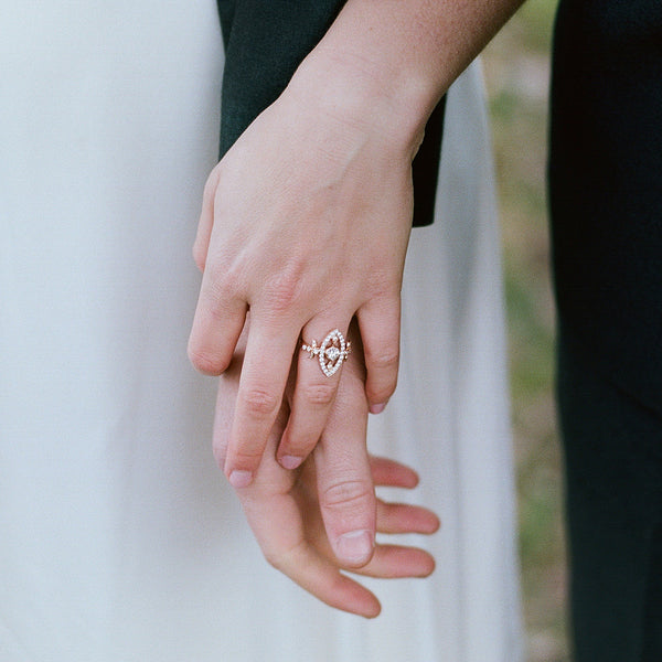 Vintage Inspired 18K Rose Gold Ring with Diamonds | Moulin Rouge from Trumpet & Horn | Photo by Amanda Brubaker