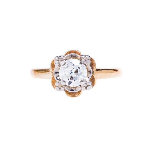 A Charming Authentic Retro Era Diamond Solitaire Engagement Ring