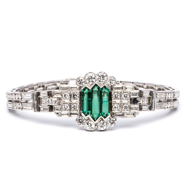Art Deco Russian Emerald and Diamond Bracelet