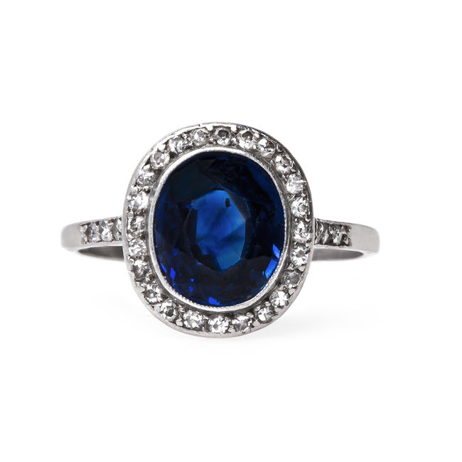 Edwardian Sapphire Engagement Ring with Diamond Halo | Ashbury Heights from Trumpet & Horn