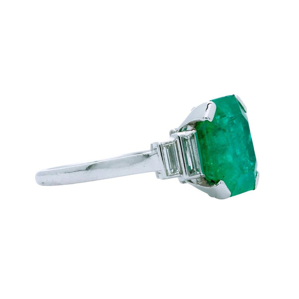 A Sophisticated Mid-Century Platinum, Emerald and Diamond Engagement Ring Signed Mauboussin Paris | Aspen Hills