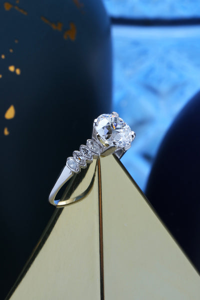 Stunning 2.37ct Old European Diamond Vintage Engagement Ring with Marquise Accent Diamonds | Atherwood Park