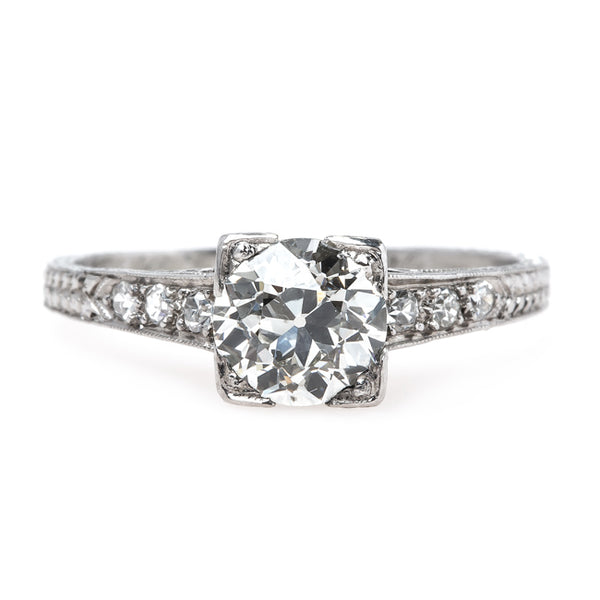 Timeless Engraved Art Deco Platinum Engagement Ring | Ridgeback from Trumpet & Horn
