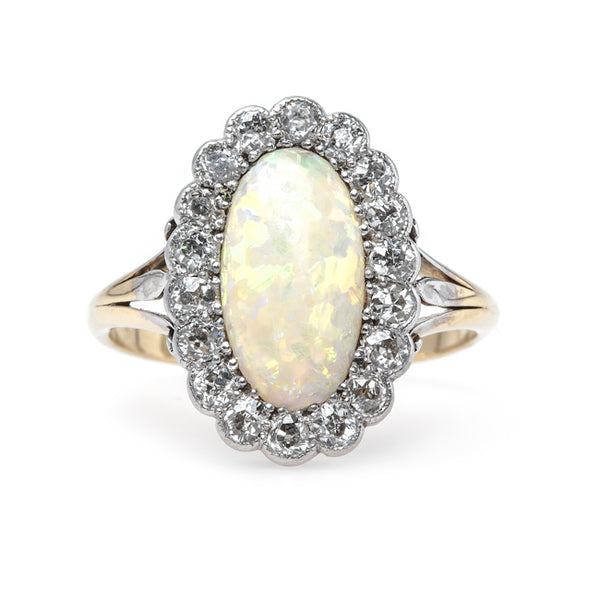 Captivating Victorian Era Opal Engagement Ring with Diamond Halo | Argyle from Trumpet & Horn
