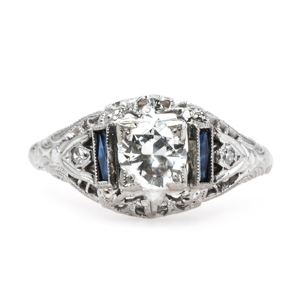 Spectacular Edwardian Era Platinum Engagement Ring with Sapphire Shoulders | Cosgrove from Trumpet & Horn