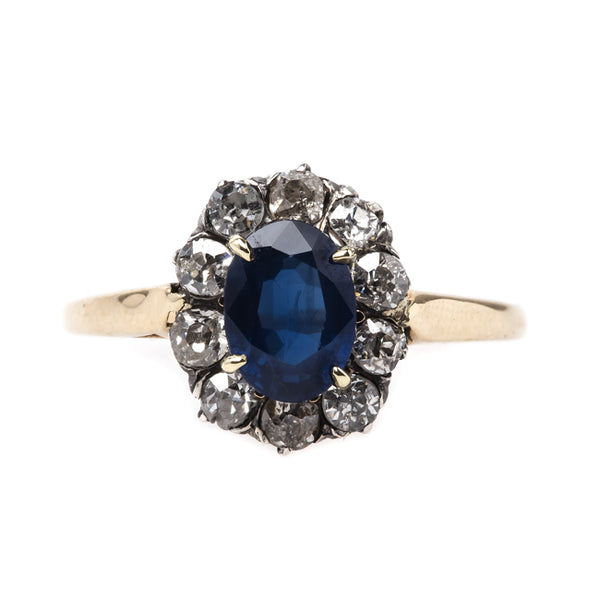 Exquisite Victorian Era Sapphire and Old Mine Cut Diamond Halo Engagement Ring | Sloane Square from Trumpet & Horn