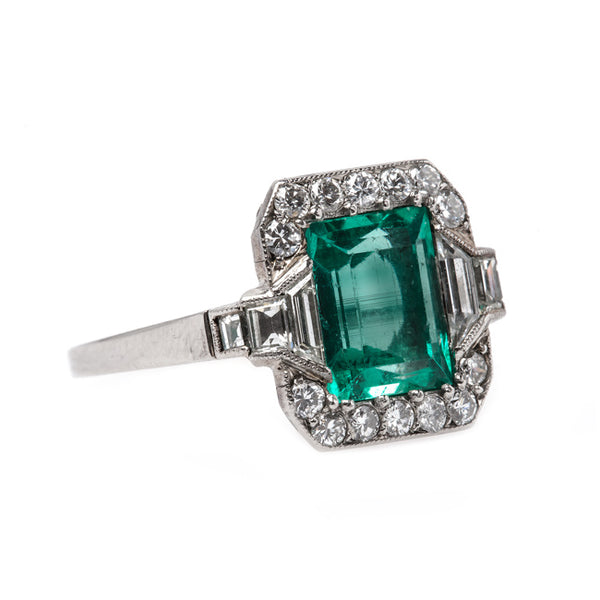 Gorgeous Art Deco Emerald Ring with Diamond Halo | Autry Trail from Trumpet & Horn
