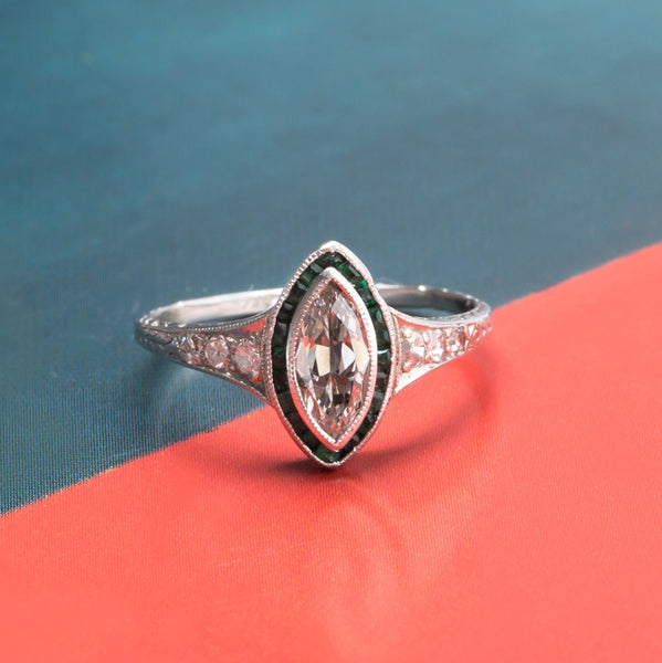 Vintage Platinum Art Deco Engagement Ring with Emelald and Diamond Halo | Avery from Trumpet & Horn