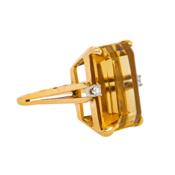 Flashy 18ct Citrine & Diamond Retro Cocktail Ring | San Marcos