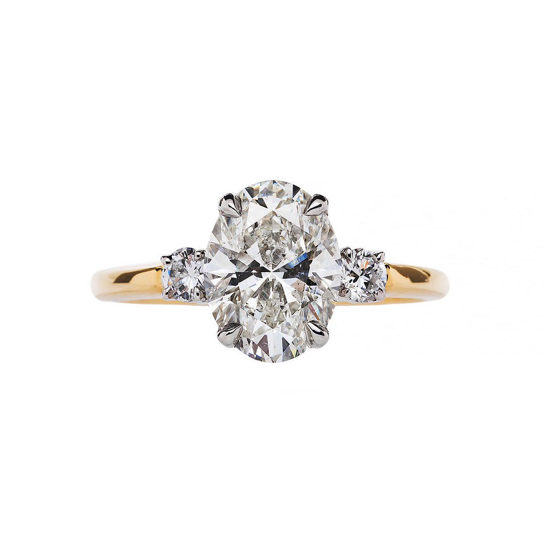 Vintage Oval Engagement Ring with Diamond Sides | Bacalar